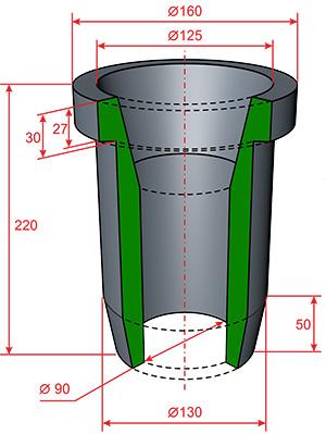 Насадка ГЦР-250 Сливная 90х160х220 (10080CVX90U03)