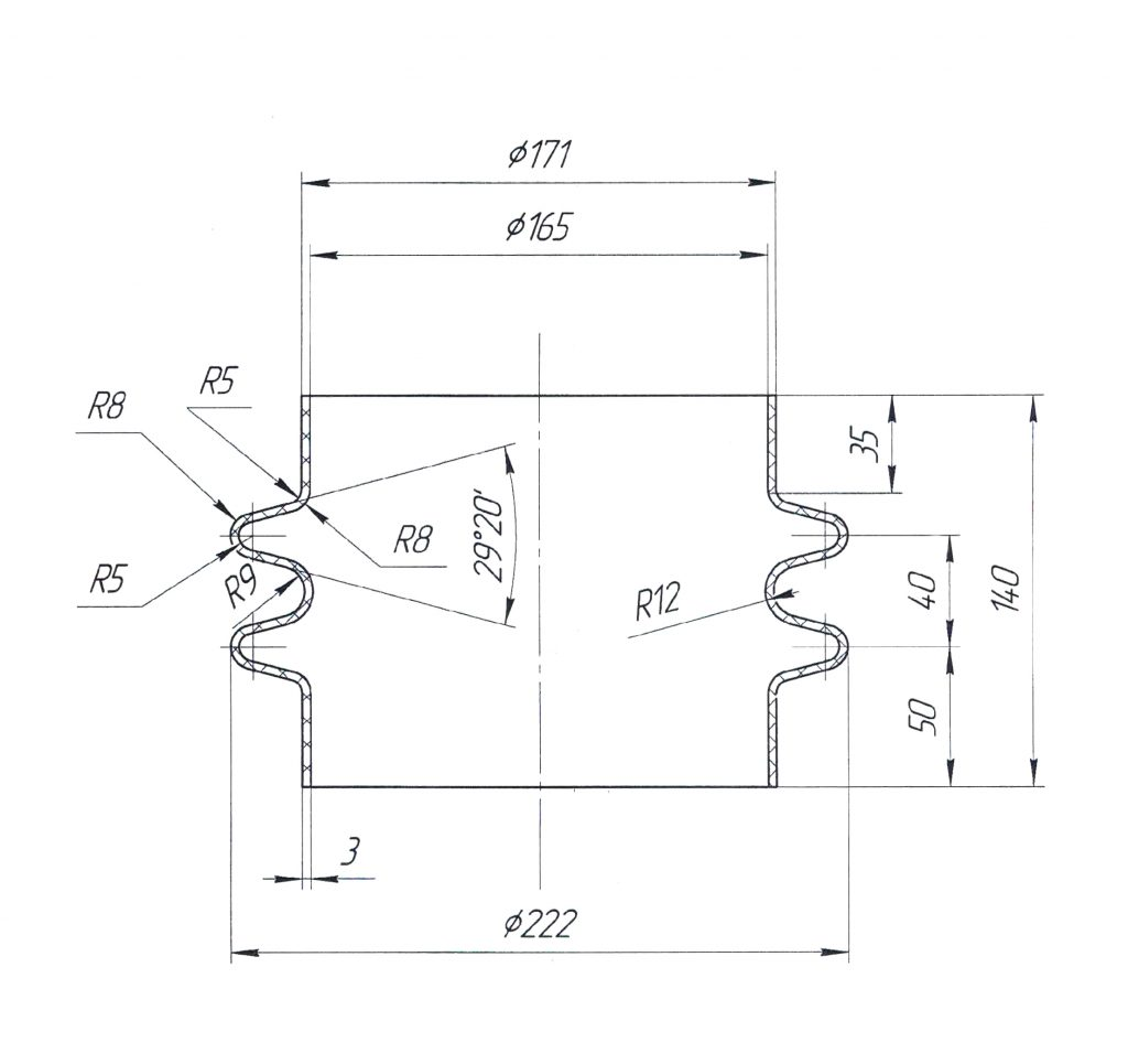 Гофрированая труба для вибрационного однотрубного конвейера KB1T