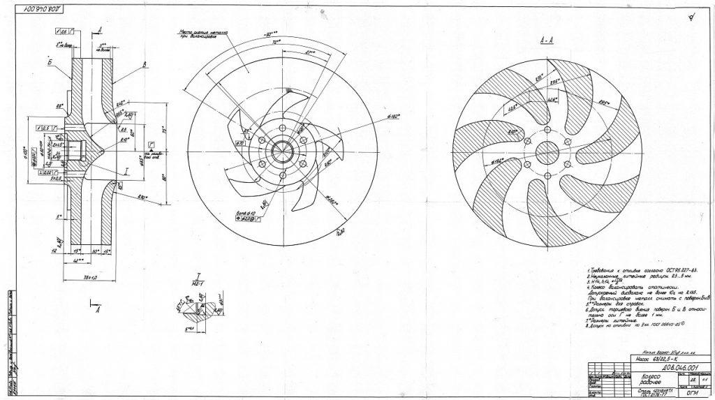 Рабочее колесо для насоса 63/22,5-К