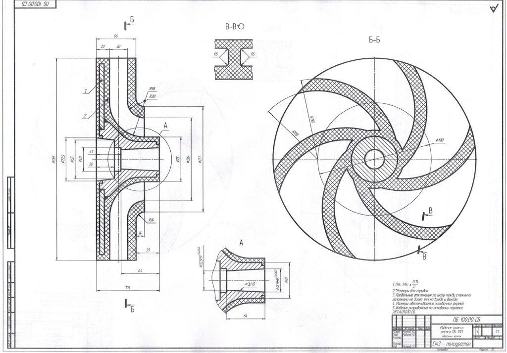 чертеж рабочего колеса к насосу ПБ-100
