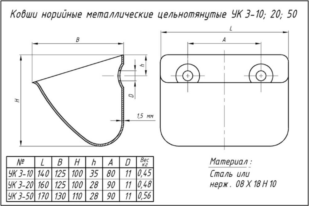 ковш 3-10; 3-20; 3-50
