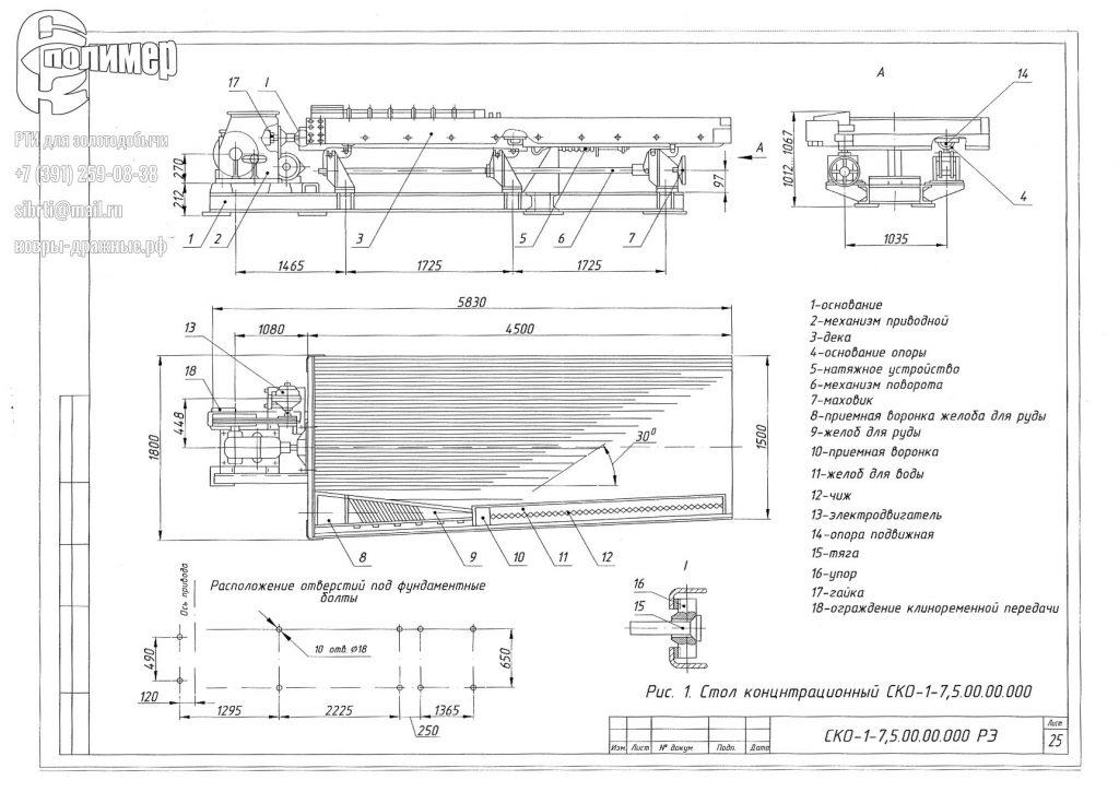 чертеж стола концентрационного СКО-7,5